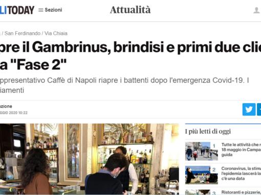 """Riapre il Gambrinus, brindisi e i primi due clienti della """"Fase 2"""""""