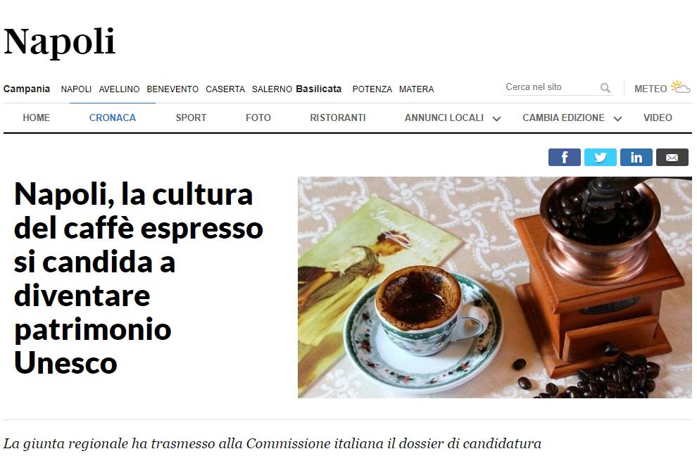 Napoli, la cultura del caffè espresso si candida a diventare patrimonio Unesco