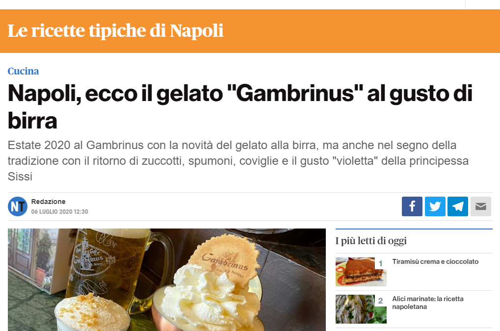 """Napoli, ecco il gelato """"Gambrinus"""" al gusto di birra"""