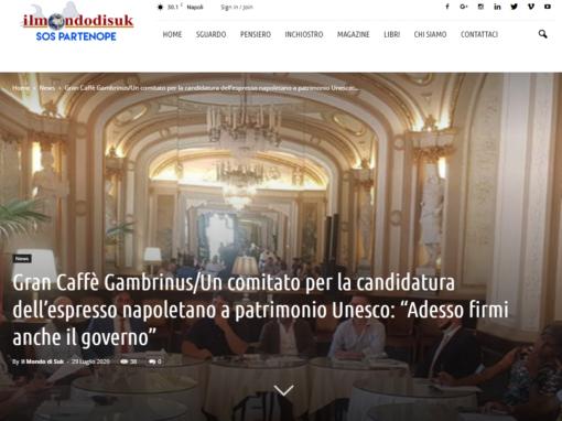 """Gran Caffè Gambrinus/Un comitato per la candidatura dell'espresso napoletano a patrimonio Unesco: """"Adesso firmi anche il governo"""""""