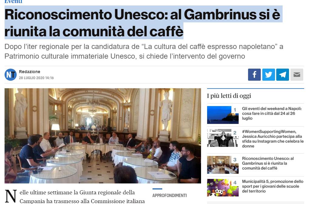 """Riconoscimento Unesco: al Gambrinus si è riunita la comunità del caffè """"Riconoscimento Unesco: al Gambrinus si è riunita la comunità del caffè"""""""