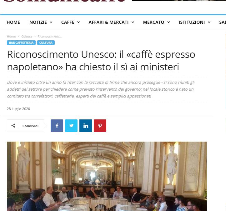 Riconoscimento Unesco: il «caffè espresso napoletano» ha chiesto il sì ai ministeri